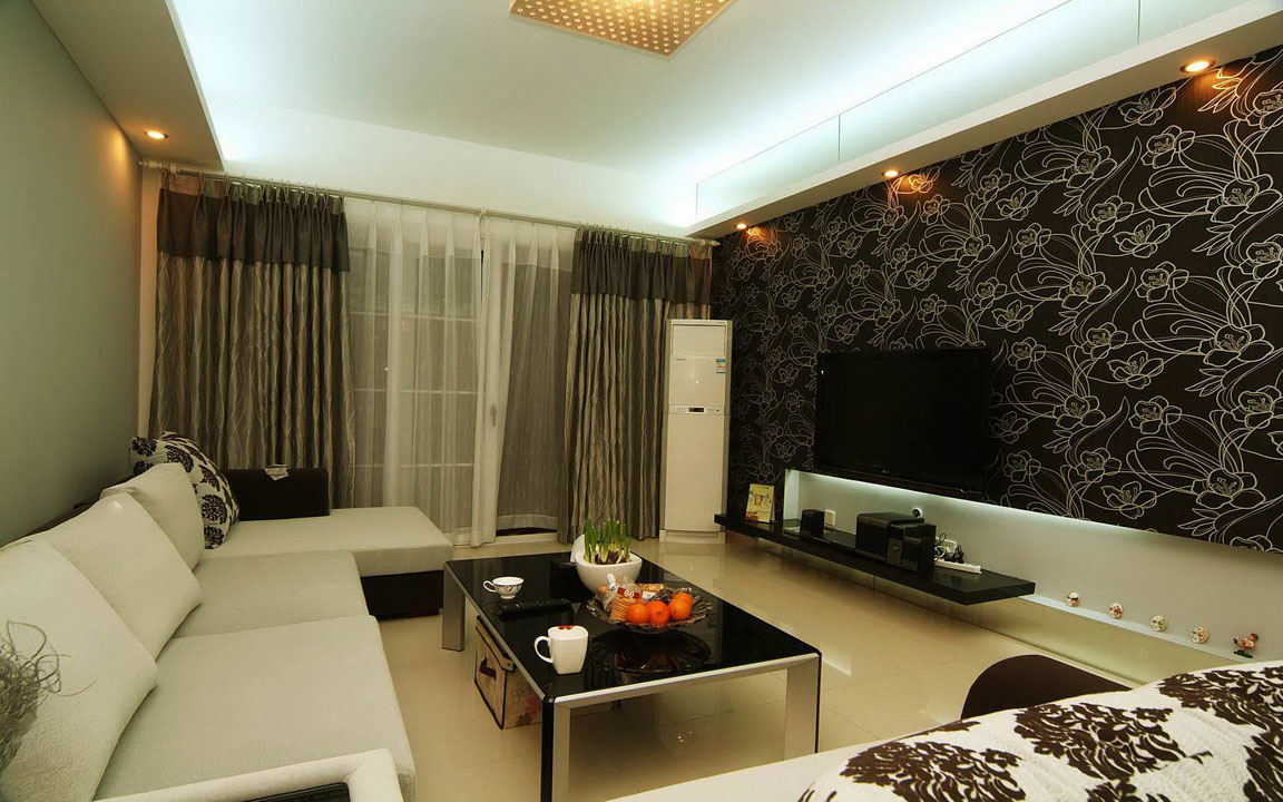trendy-living-room-decorating-style-with-chic-black-floral-wallpaper-model-also-completed-with-charming-ceiling-lights-also-comfy-white-l-shaped-sofa